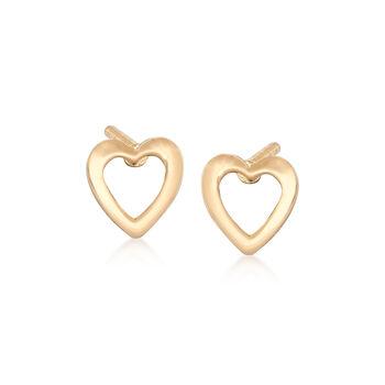 Child's 14kt Yellow Gold Openwork Heart Stud Earrings, , default