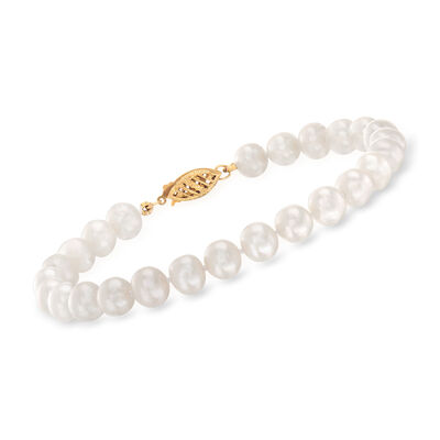 6-6.5mm Cultured Pearl Bracelet with 14kt Yellow Gold Clasp, , default