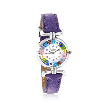 Italian Woman's Floral Multicolored Murano Glass 26mm Stainless Watch With Purple Leather, , default