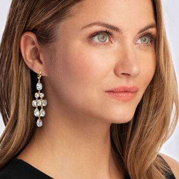 33.50 ct. t.w. Sky Blue Topaz Chandelier Earrings in 18kt Gold Over Sterling