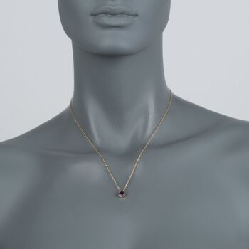 ".70 Carat Bezel-Set Amethyst Pendant Necklace in 14kt Yellow Gold. 18"""