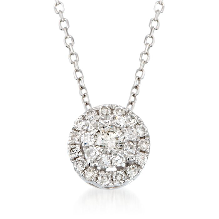.25 ct. t.w. Diamond Halo Pendant Necklace in 14kt White Gold. 18""