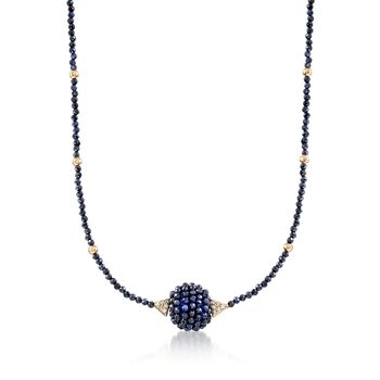 """35.00 ct. t.w. Sapphire Bead Necklace With .12 ct. t.w. Diamonds and 14kt Gold. 18"""", , default"""