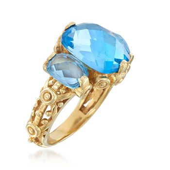 6.00 ct. t.w. Swiss Blue Topaz Three-Stone Ring in 18kt Yellow Gold Over Sterling Silver, , default