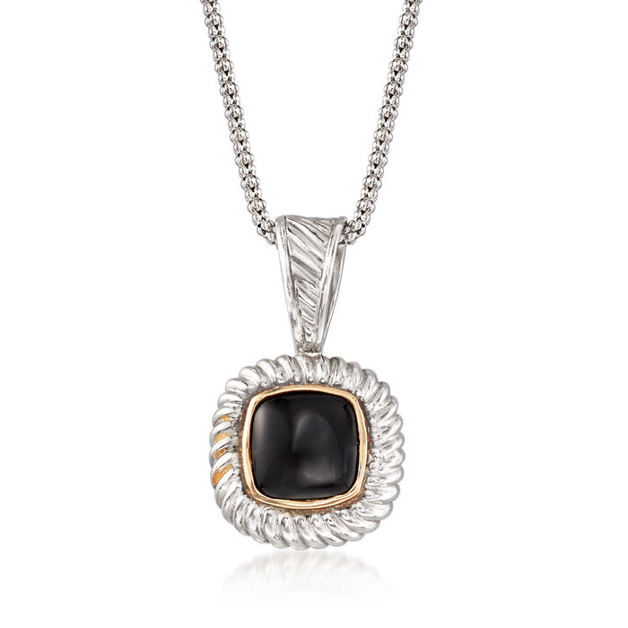 "C. 2000 Vintage Black Onyx Pendant Necklace in Sterling Silver with 14kt Gold. 18"", , default"