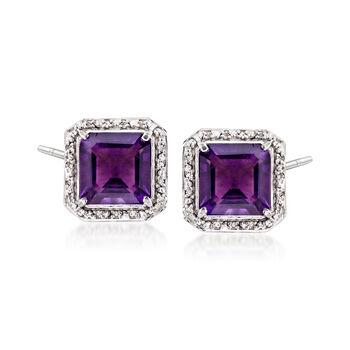 8.00 ct. t.w. Amethyst and .19 ct. t.w. Diamond Earrings in Sterling Silver, , default