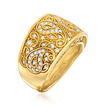 C. 1990 Vintage .83 ct. t.w. Diamond Scroll Ring in 18kt Yellow Gold. Size 6.5, , default