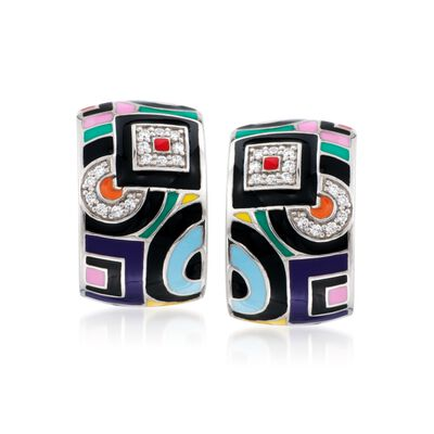 "Belle Etoile ""Geometrica"" Multicolored Enamel and .15 ct. t.w. CZ Hoop Earrings in Sterling Silver, , default"