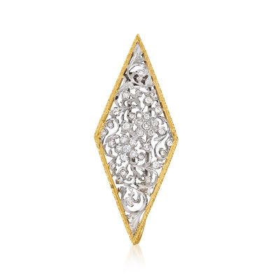 C. 2000 Vintage .75 ct. t.w. Diamond Floral Pin/Pendant in 18kt Two-Tone Gold
