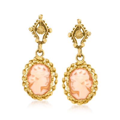 C. 1970 Vintage Pink Shell Cameo Drop Earrings in 14kt Yellow Gold