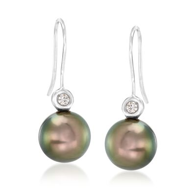 9-10mm Black Cultured Tahitian Pearl Drop Earrings with Diamond Accents in 18kt White Gold, , default