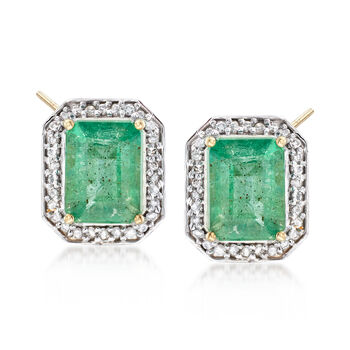 3.60 ct. t.w. Zambian Emerald and .25 ct. t.w. Diamond Frame Earrings in 14kt Yellow Gold, , default