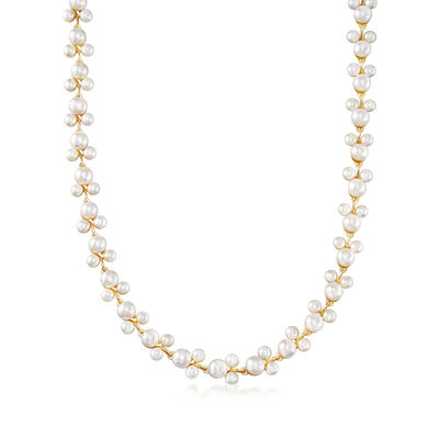 5-7.5mm Cultured Pearl Trio Vine Necklace in 18kt Gold Over Sterling