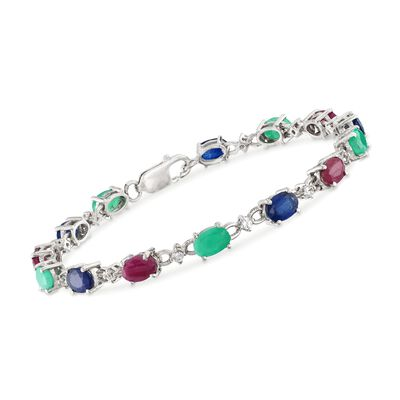 9.60 ct. t.w. Multi-Stone Tennis Bracelet in Sterling Silver