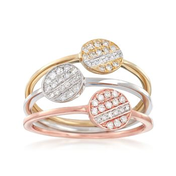 .27 ct. t.w. Diamond Jewelry Set: Three Circle Rings in 14kt Tri-Colored Gold, , default