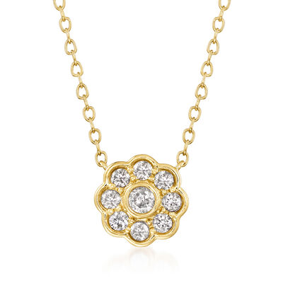 .25 ct. t.w. Diamond Floral Necklace in 14kt Yellow Gold