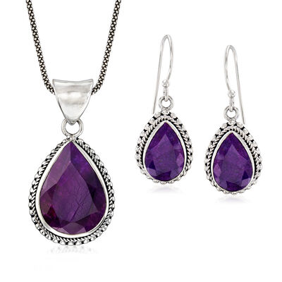 26.60 ct. t.w. Purple Sapphire Jewelry Set: Earrings and Pendant Necklace in Sterling Silver, , default