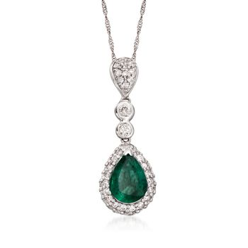 "1.00 Carat Emerald and .45 ct. t.w. Diamond Pendant Necklace in 14kt White Gold. 16"", , default"