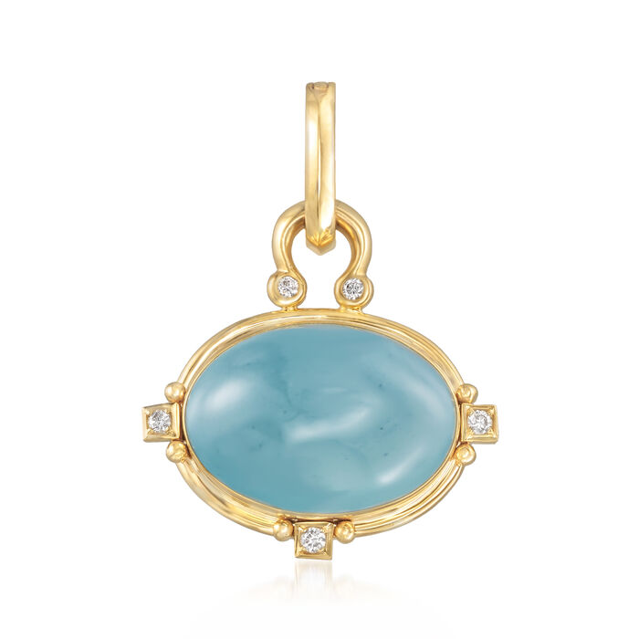 Mazza 20.00 Carat Aquamarine and .14 ct. t.w. Diamond Pendant in 14kt Yellow Gold, , default