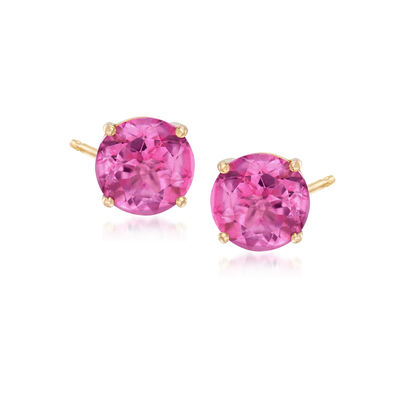 3.00 ct. t.w. Pink Topaz Post Earrings in 14kt Yellow Gold