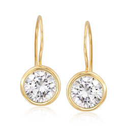 7.00 ct. t.w. Bezel-Set CZ Drop Earrings in 14kt Gold Over Sterling , , default