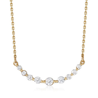 .27 ct. t.w. CZ Curved Bar Station Necklace in 14kt Yellow Gold