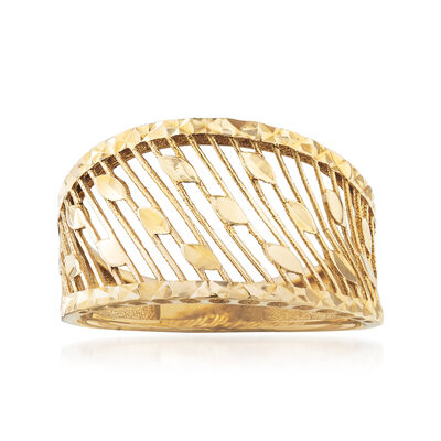 Diamond-Cut and Polished Openwork Ring in 14kt Yellow Gold