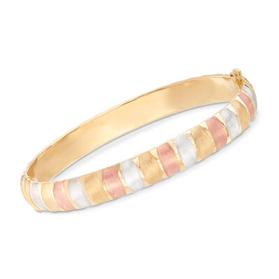 Italian Tri-Colored Bangle Bracelet in 14kt Gold, , default