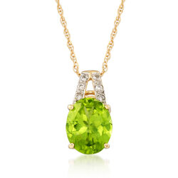 C. 1980 Vintage 4.00 Carat Peridot and .10 ct. t.w. Diamond Pendant Necklace in 14kt Yellow Gold, , default