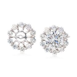 .50 ct. t.w. Diamond Halo Earring Jackets in 14kt White Gold , , default