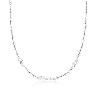 Sterling Silver Personalized Three-Name Station Necklace, , default