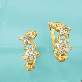 ".10 ct. t.w. Diamond Sea Life Hoop Earrings in 18kt Gold Over Sterling. 5/8"""