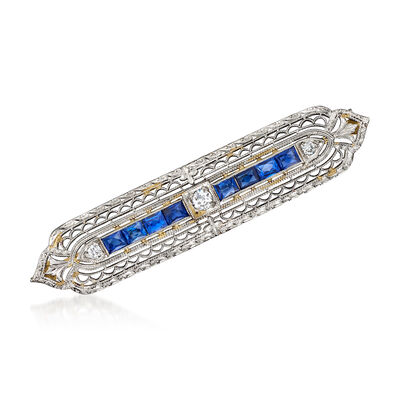 C. 1950 Vintage 1.20 ct. t.w. Sapphire and .20 ct. t.w. Diamond Bar Pin in Platinum and 14kt White Gold