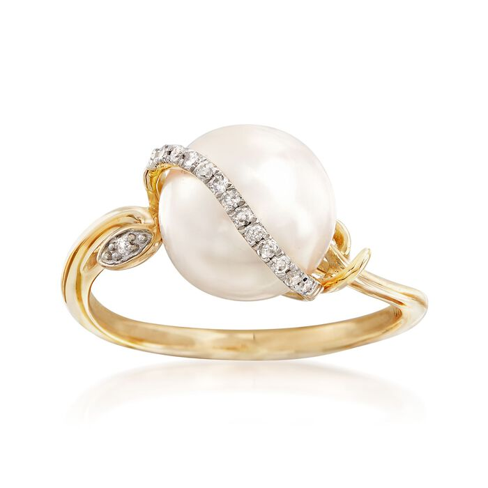 9.5-10mm Cultured Pearl Ring in 14kt Yellow Gold with Diamond Accents, , default