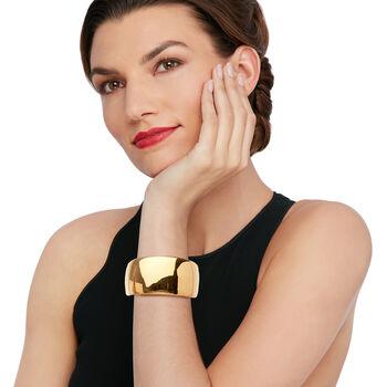 Italian Andiamo 14kt Yellow Gold Wide Cuff Bracelet, , default