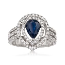 1.00 Carat Sapphire and .80 ct. t.w. Diamond Ring in 14kt White Gold, , default