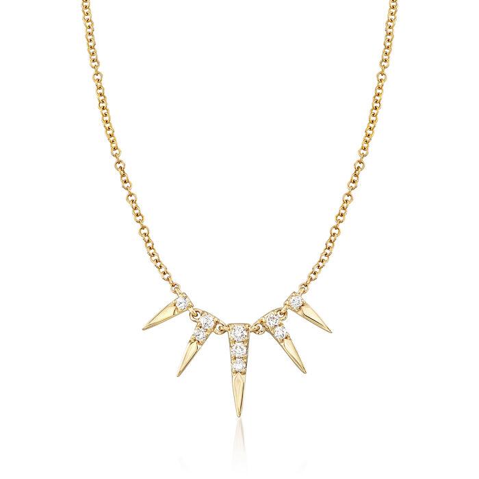 "Gabriel Designs .13 ct. t.w. Diamond Spike Necklace in 14kt Yellow Gold. 15.5"", , default"