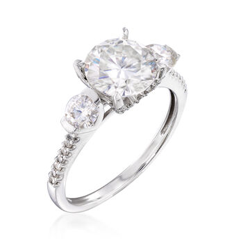 2.30 ct. t.w. Synthetic Moissanite Three-Stone Engagement Ring with .15 ct. t.w. Diamonds in 14kt White Gold