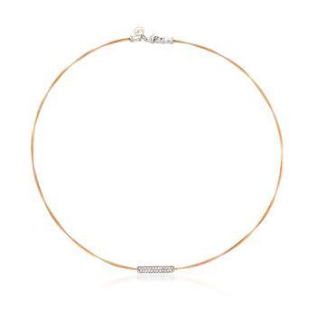 """ALOR """"Classique"""" .22 ct. t.w. Diamond Bar Yellow and Rose Cable Necklace With 18kt Two-Tone Gold. 17.5"""", , default"""