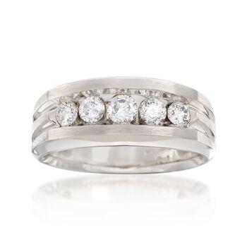 Men's 1.00 ct. t.w. Diamond Wedding Ring in 14kt White Gold, , default