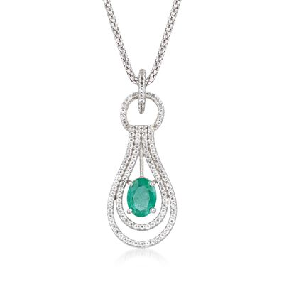 1.00 Carat Emerald and .90 ct. t.w. White Topaz Pendant Necklace in Sterling Silver, , default