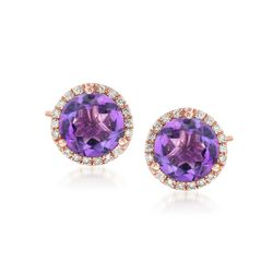 4.00 ct. t.w. Amethyst and .22 ct. t.w. Diamond Stud Earrings in 14kt Rose Gold, , default