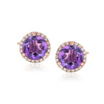 4.00 ct. t.w. Amethyst and .22 ct. t.w. Diamond Stud Earrings in 14kt Rose Gold , , default