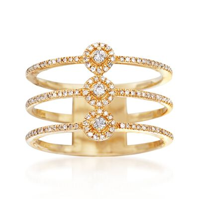 .25 ct. t.w. Diamond Three-Row Ring in 14kt Yellow Gold, , default