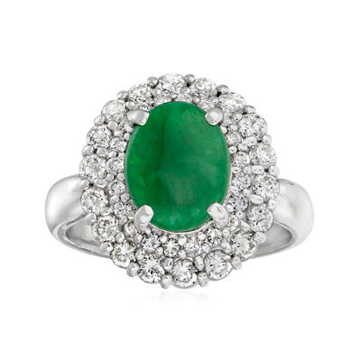 C. 1980 Vintage Jade and .95 ct. t.w. Diamond Ring in Platinum