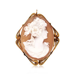 C. 1940 Vintage Shell Cameo Pin Pendant in 10kt Yellow Gold, , default