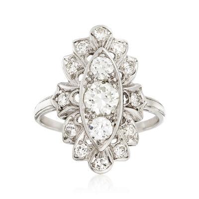 C. 1960 Vintage 1.00 ct. t.w. Diamond Elongated Ring in Platinum, , default