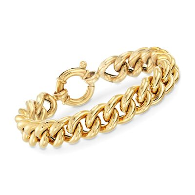 Italian 18kt Yellow Gold Curb-Link Bracelet, , default