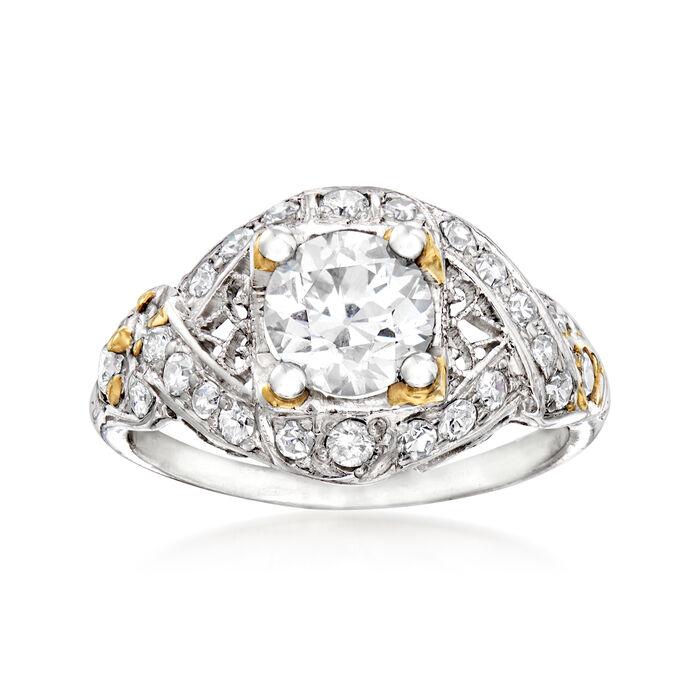 C. 1980 Vintage 1.40 ct. t.w. Diamond Ring in Platinum. Size 6, , default