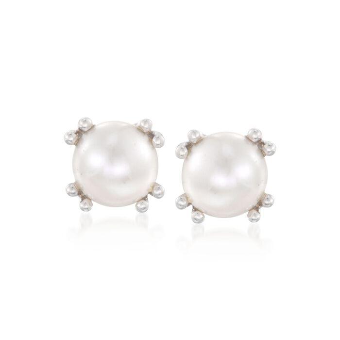 7mm Cultured Pearl Stud Earrings in Sterling Silver